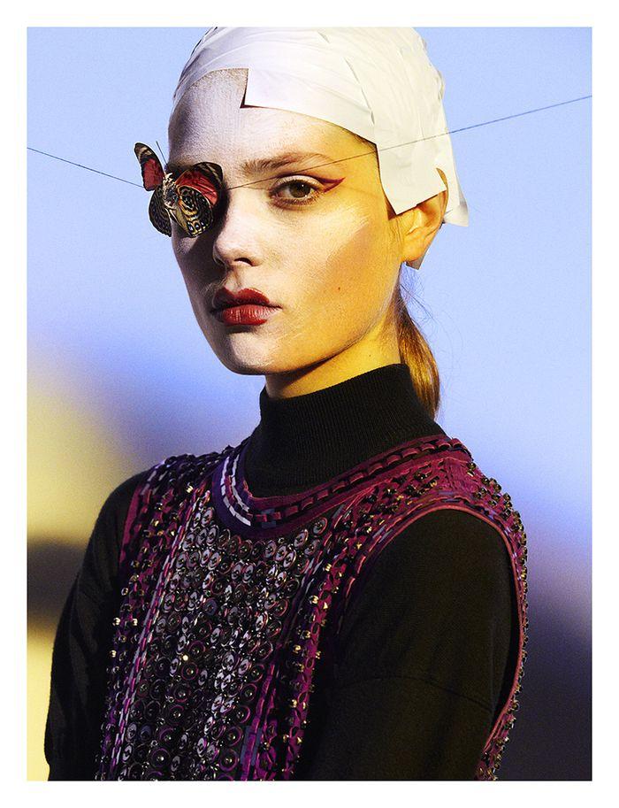 Caroline Brasch Nielson maquillada por Kabuki en Numéro, 2013
