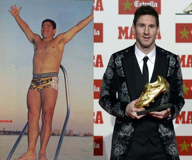 Maradona y Messi, dos ídolos seducidos por marcas italianas