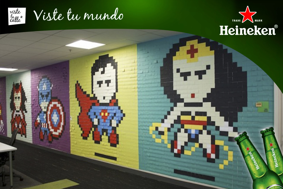 Increíbles murales de Post-it retratan a distintos superhéroes en una oficina de San Francisco #HeinekenLife