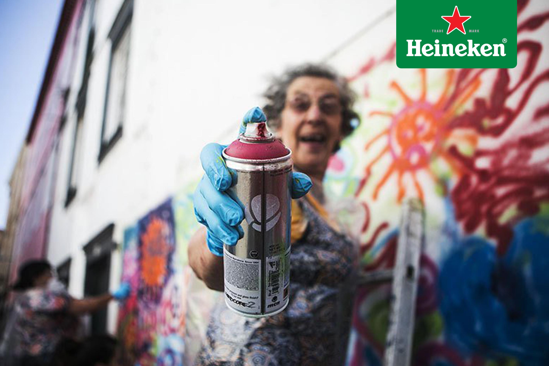 Lata 65, el proyecto que invita a los adultos mayores de Portugal a sumergirse en el mundo del arte urbano #HeinekenLife