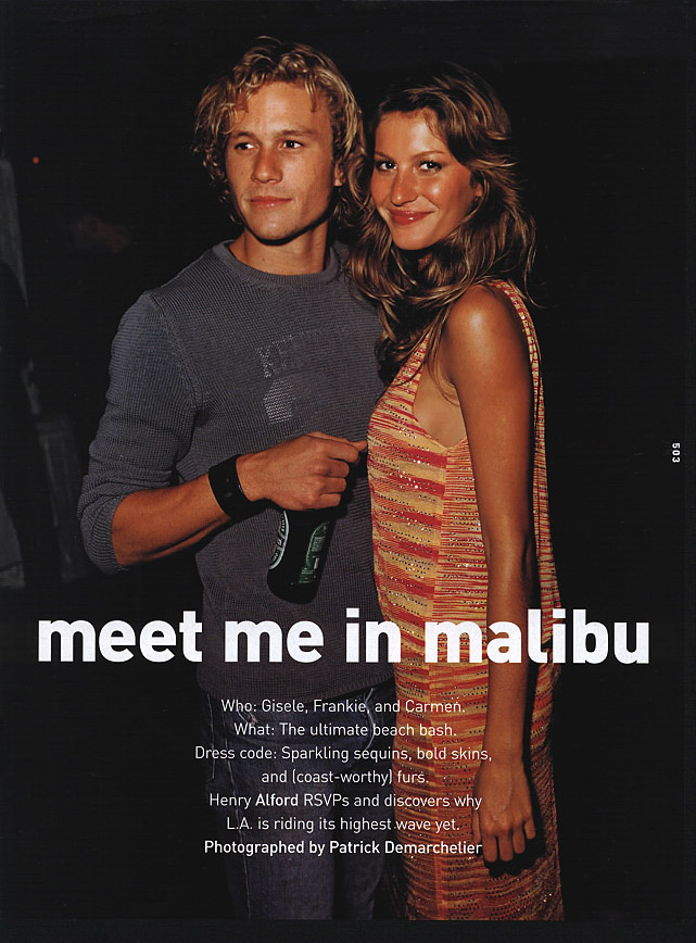 Flashback: Gisele Bundchen, Heath Ledger y Vin Diesel en una editorial del 2000