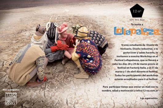 Concurso 2 cupos para el workshop de 12-na en Lolapallooza