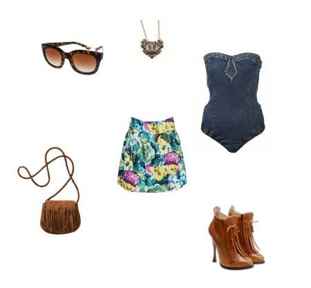 Outfit ochentas + floreados + Body´s