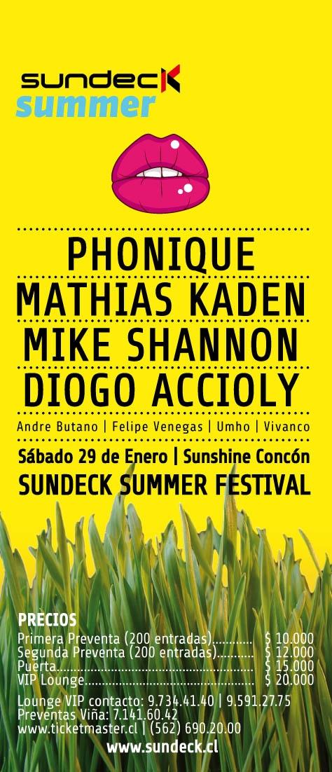 Sundeck Summer Festival: Mike Shannon, Phonique, Mathias Kaden y más