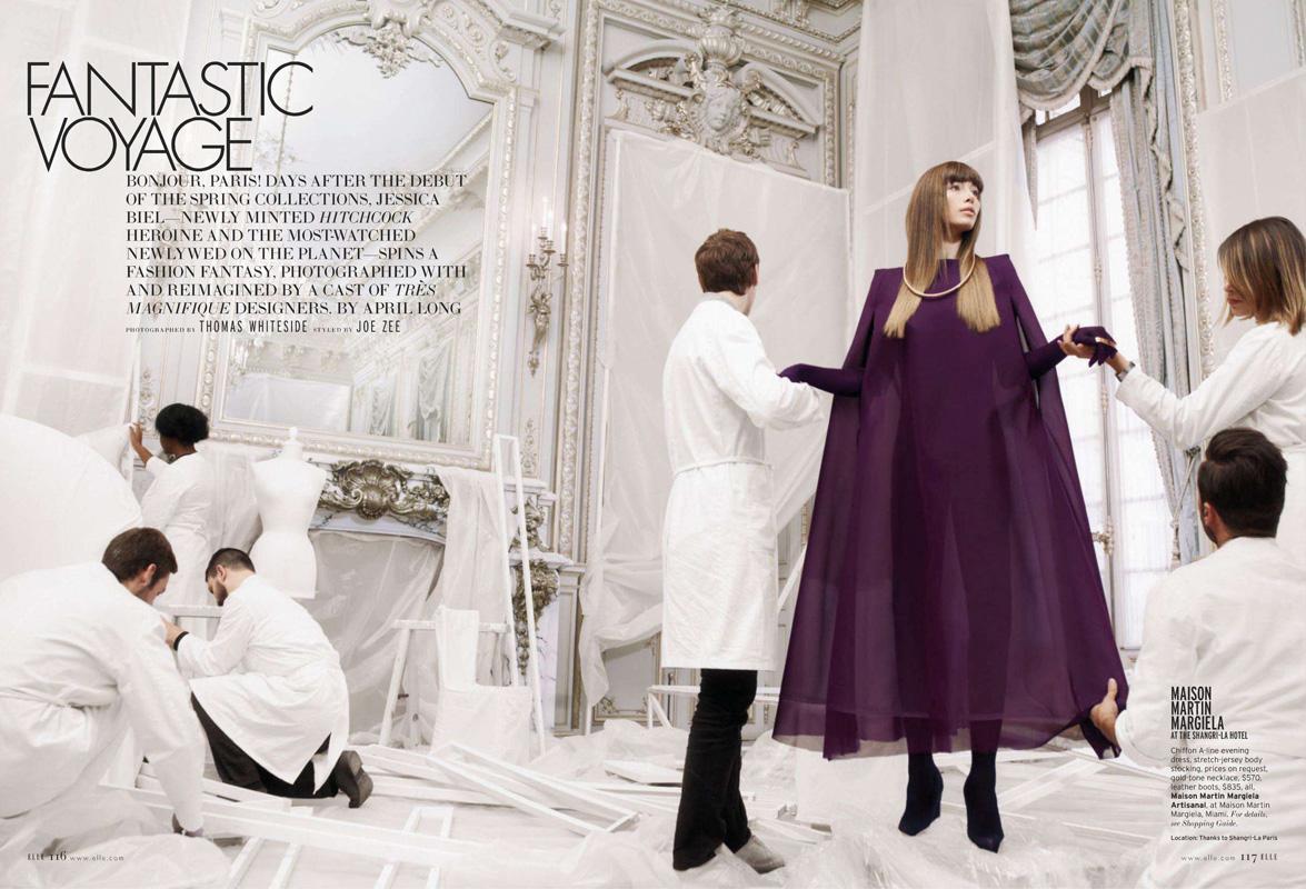Jessica Biel y los diseñadores en Elle Magazine, enero 2013