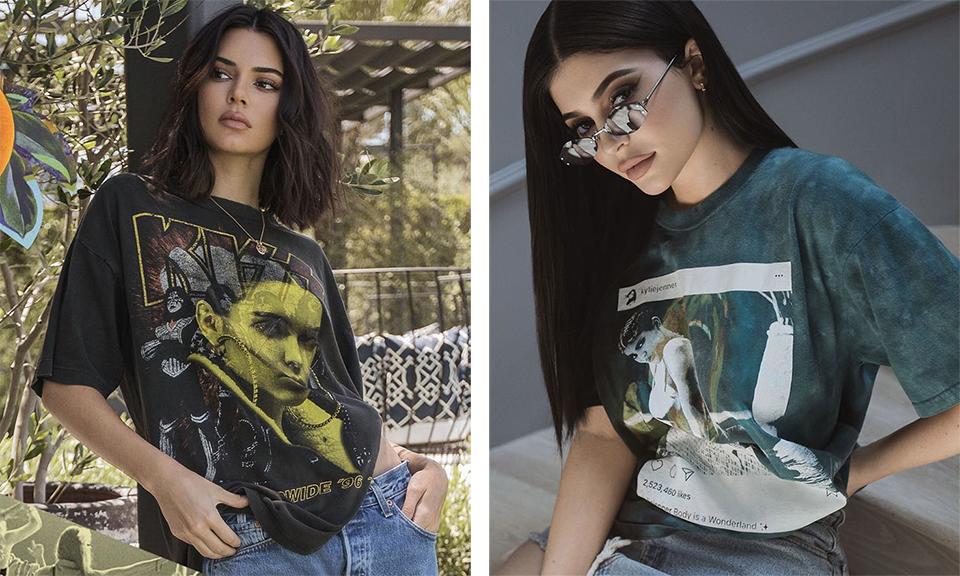 """Kendall y Kylie Jenner lanzan una colección """"vintage"""" de poleras muy controversial"""