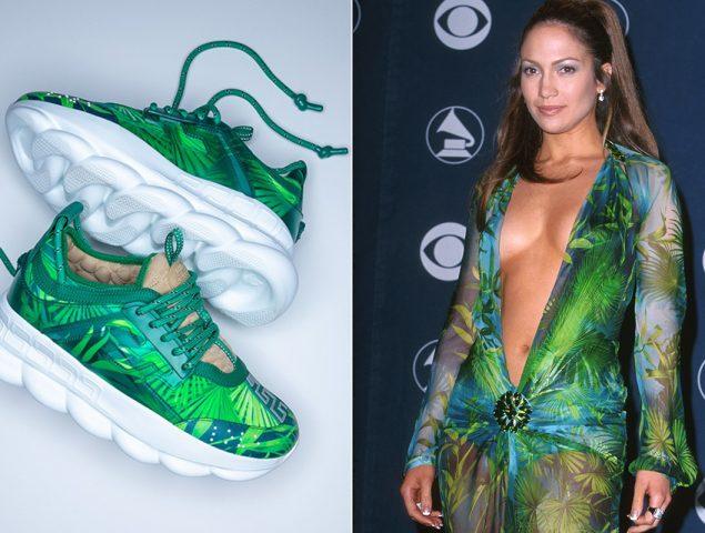 El legendario vestido Versace de Jennifer Lopez se transforma en zapatillas