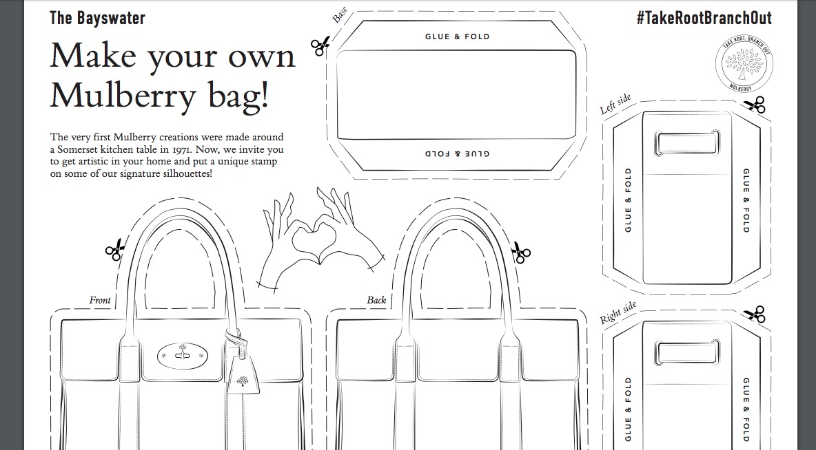Mulberry lanza moldes online para crear tus propias carteras de la firma