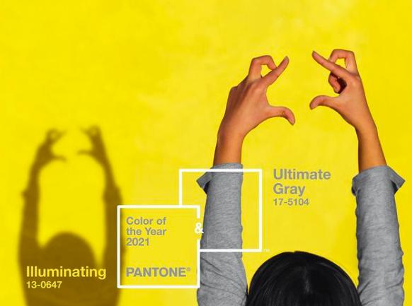 """El amarillo """"Illuminating"""" y el gris """"Ultimate Grey"""" son los colores del 2021"""